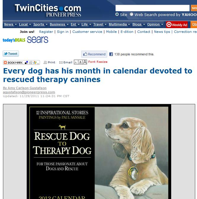Pioneerpress Article - Rescue Dog Art Calendar